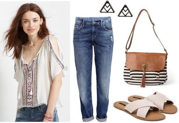 peasant top, boyfriend jeans, slide-on sandals