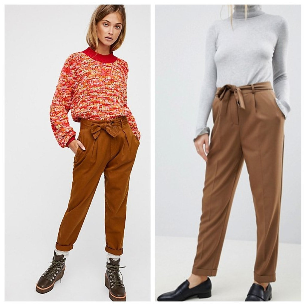 Peg pants: the first pair is from Free People and the second pair is from ASOS. Both are paired with sweaters, one model has on boots the other has on oxfords.