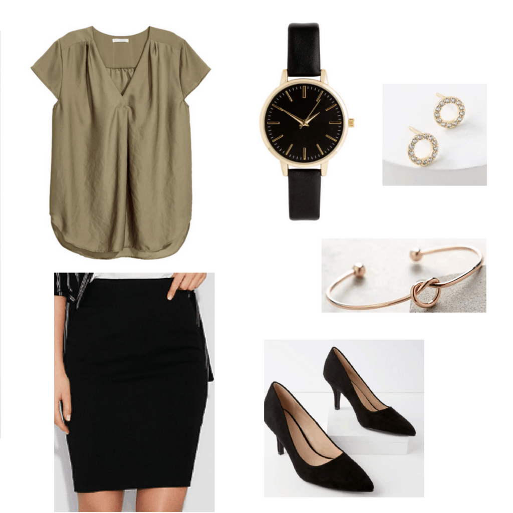 olive shirt, black pencil skirt, black watch, gold earrings, rose gold bracelet, black pumps