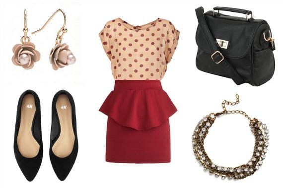 peplum skirt outfit idea