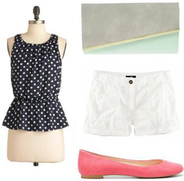 How to wear a peplum top with white shorts, pink flats, and a colorblock clutch