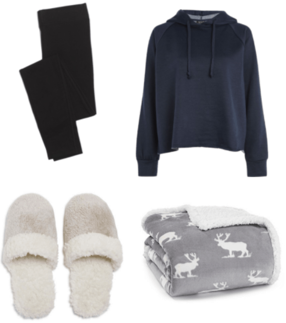 Ed Sheeran inspired outfit with black fleeced lined leggings, furry white slippers, navy blue hoodie and a fleeced grey and white reindeer throw-blanket