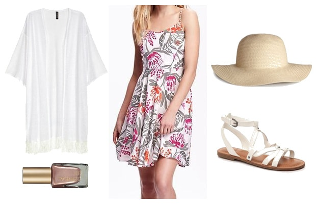 Perfect length floral print summer dress outfit
