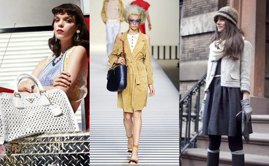 The perforated leather trend, seen on Prada's Spring/Summer 2012 handbags, at Fendi Spring/Summer 2012, and a jacket on a street style blogger