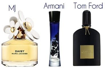 Perfume by Marc Jacobs, Armani, and Tom Ford