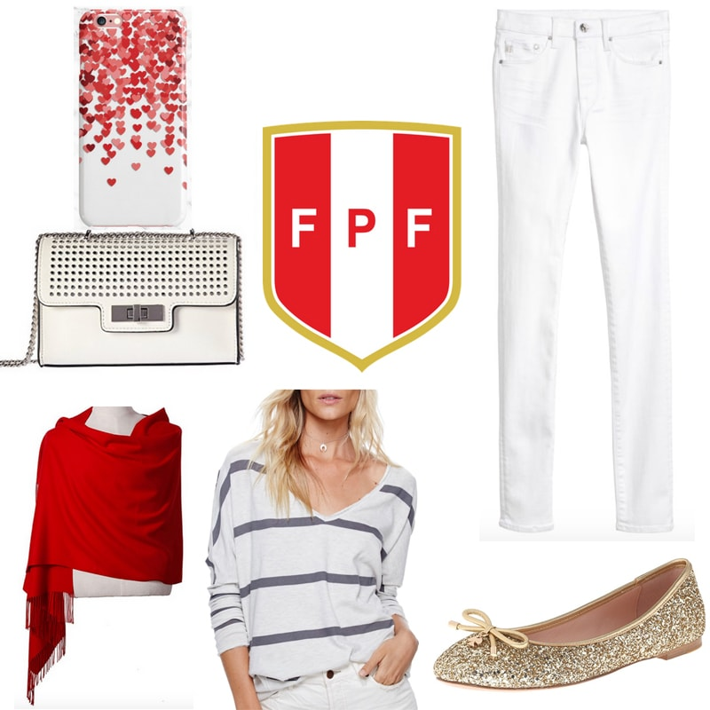 World Cup fashion: Outfit inspired by Peru with white jeans, striped white top, red scarf, gold glitter flats, beige bag, heart phone case