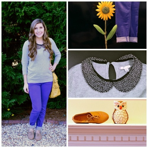 Peter pan collar sweater colored jeans outfit