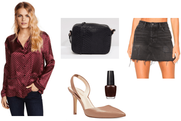 Pajama top blouse outfit for a night out: Burgundy pajama blouse, black distressed denim skirt, black clutch, dark nail polish, nude pointed toe heels