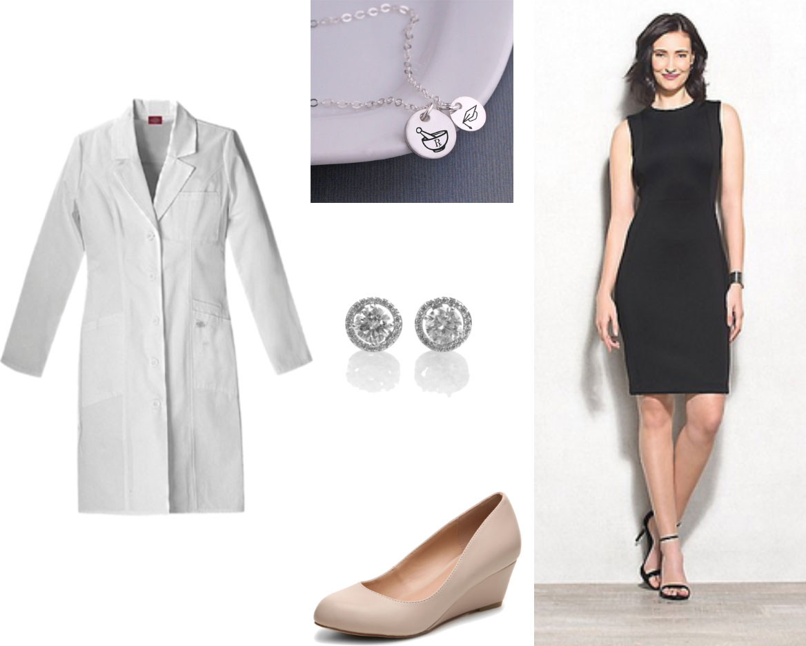 White coat outfit for pharm - black dress, pharm necklace, stud earrings, low wedge nude heels