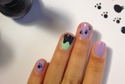 paw prints and kittens nail tutorial step 5