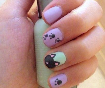 paw prints and kittens nail art tutorial