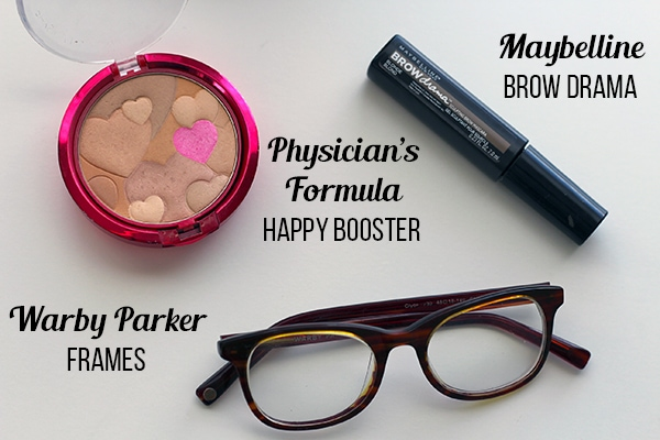 Physicians Formula happy booster, Warby Parker glasses, Maybelline brow drama