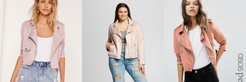 pink moto jacket collage