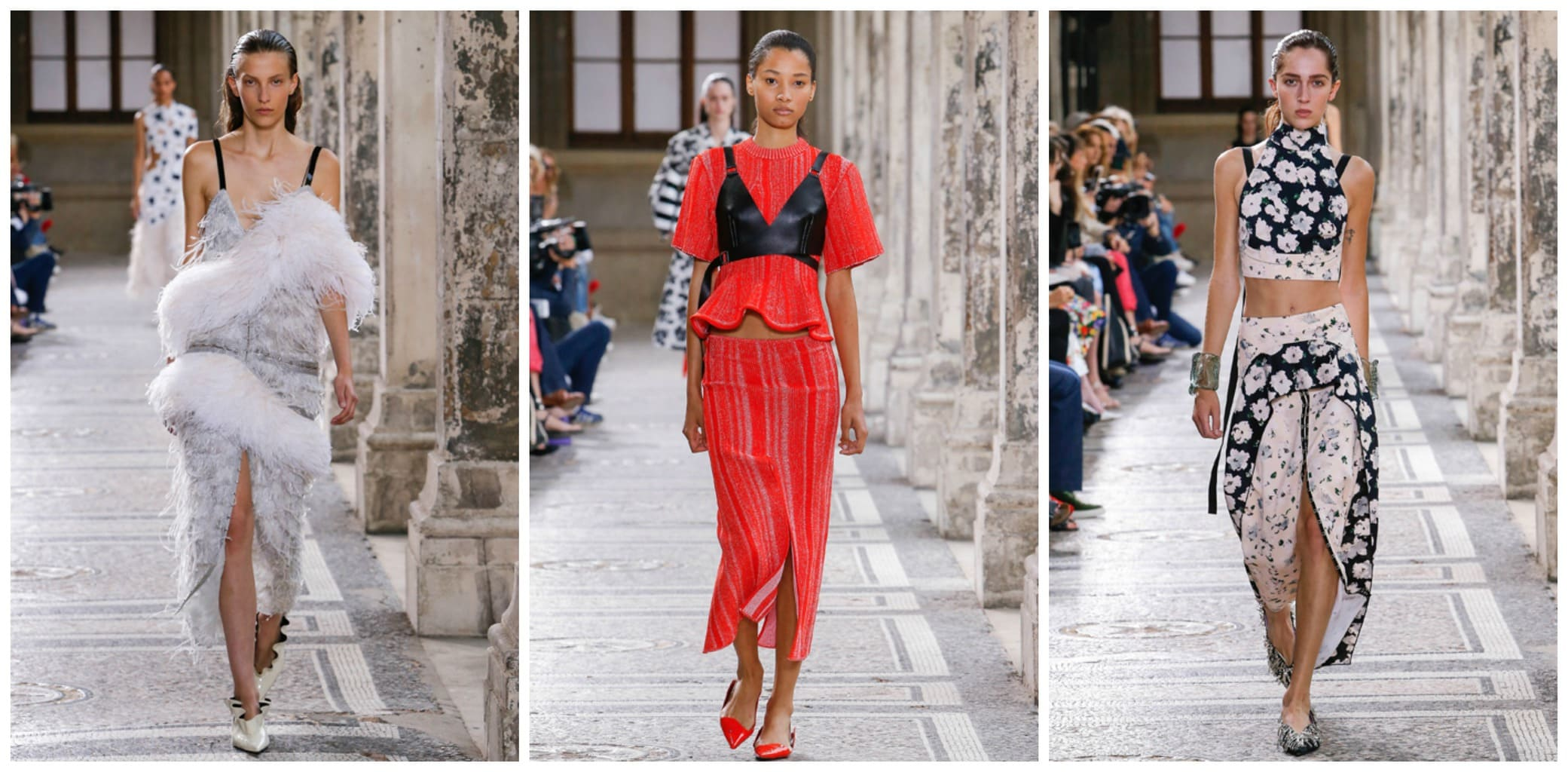 Proenza Schouler Spring 2018 runway looks -- woman wearing a fur embellished gray dress, model wearing a red crepe tee and split-front midi skirt with red flats, model wearing a daisy print crop top and front-slit wrap skirt