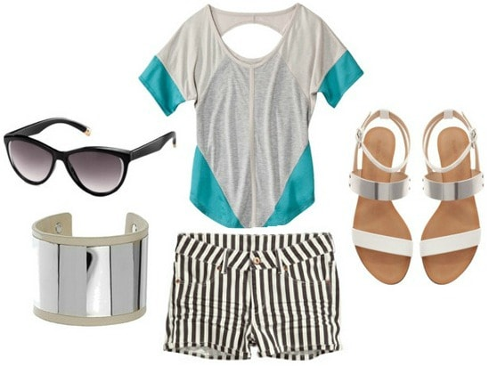 Picnic outfit colorblock top stripe shorts sandals