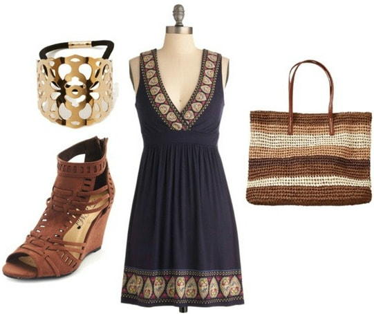 Picnic outfit dress wedge sandals straw tote