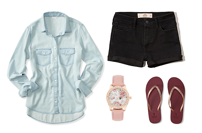 button down shirt denim shorts floral watch gold sandals
