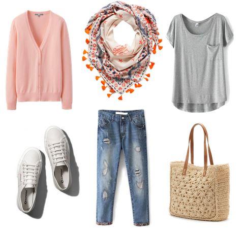 white sneakers, boyfriend jeans, tee