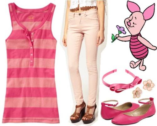 Outfit inspired by Piglet from Winnie the Pooh - Pink jeans, striped tank, flats, bow