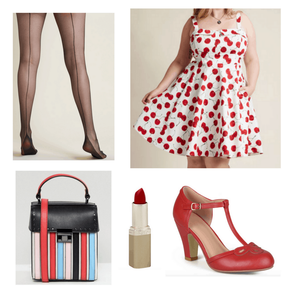 Cherry print 50s dress with pin-up tights, heels, handbag and lipstick