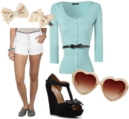 Retro pin-up inspired outfit 1: Aqua cardigan, white shorts, bow wedges, heart sunglasses, hair clips