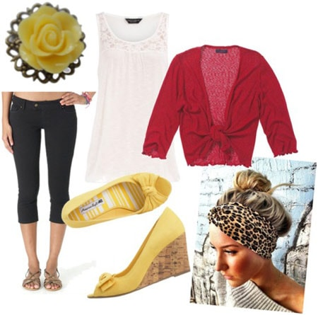 Retro pin-up inspired outfit 2: Red cardigan, black capris, tunic tank, leopard headband wrap, yellow wedges