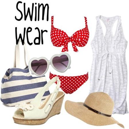 Retro pin-up inspired swimwear: Red polka dot bikini, white sundress, sun hat, espadrille wedges, striped beach bag