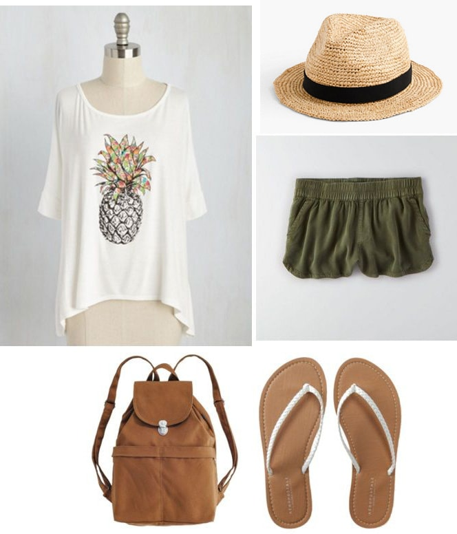 Pineapple shirt outfit - pineapple tee shirt, shorts, panama hat, sandals, backpack