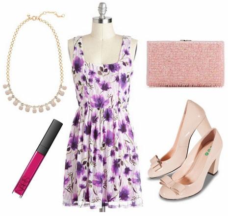 Purple floral dress, blush pumps, pink beaded clutch