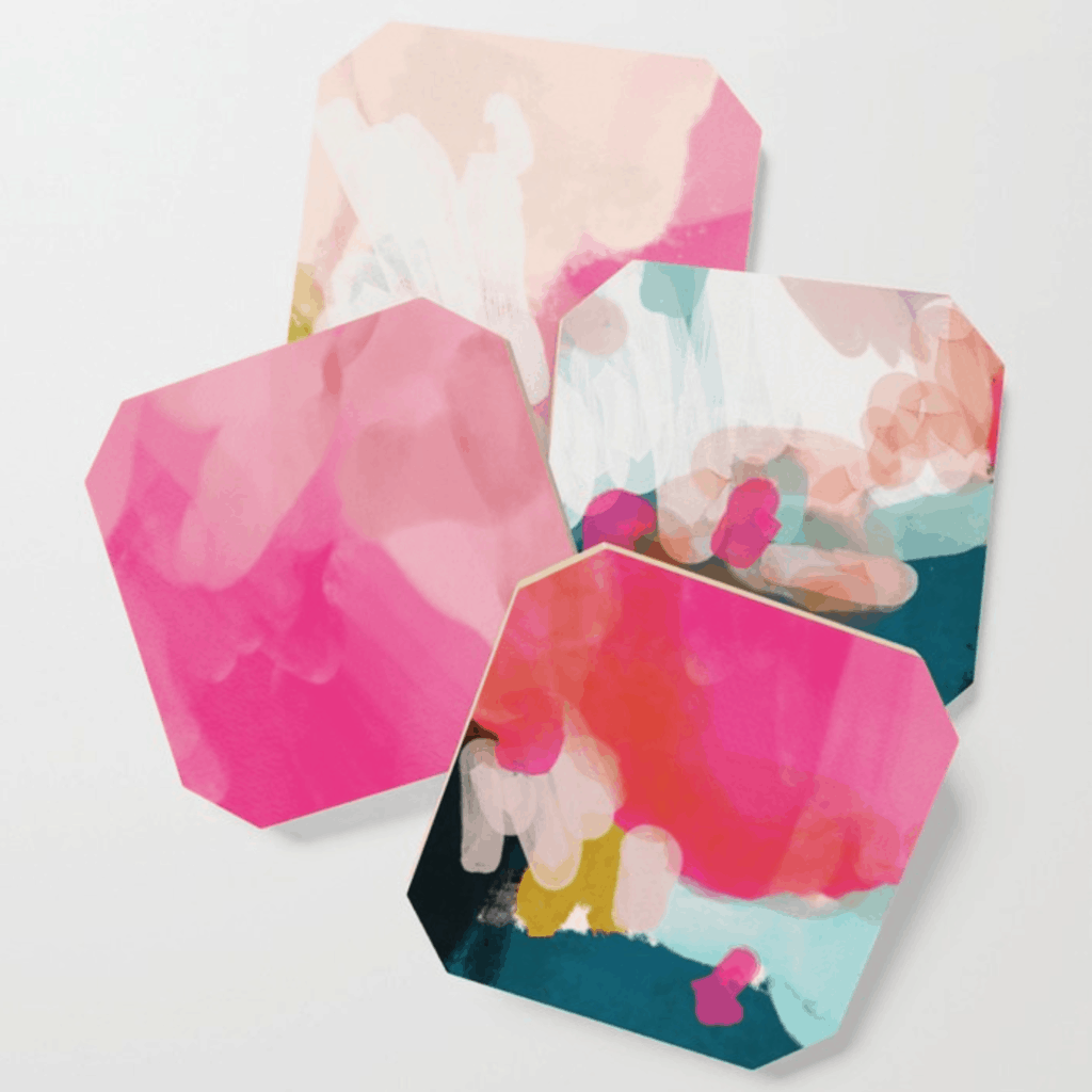 Pink artsy coasters from Society6