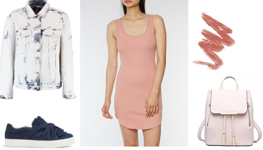 Pink bodycon dress styling tips: Outfit 1 with distressed denim jacket, navy platform sneakers, light pink backpack, 90s lipliner