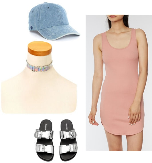 Pink bodycon dress - outfit for daytime with a denim dad hat, metallic flatbed sandals and a holographic Love choker