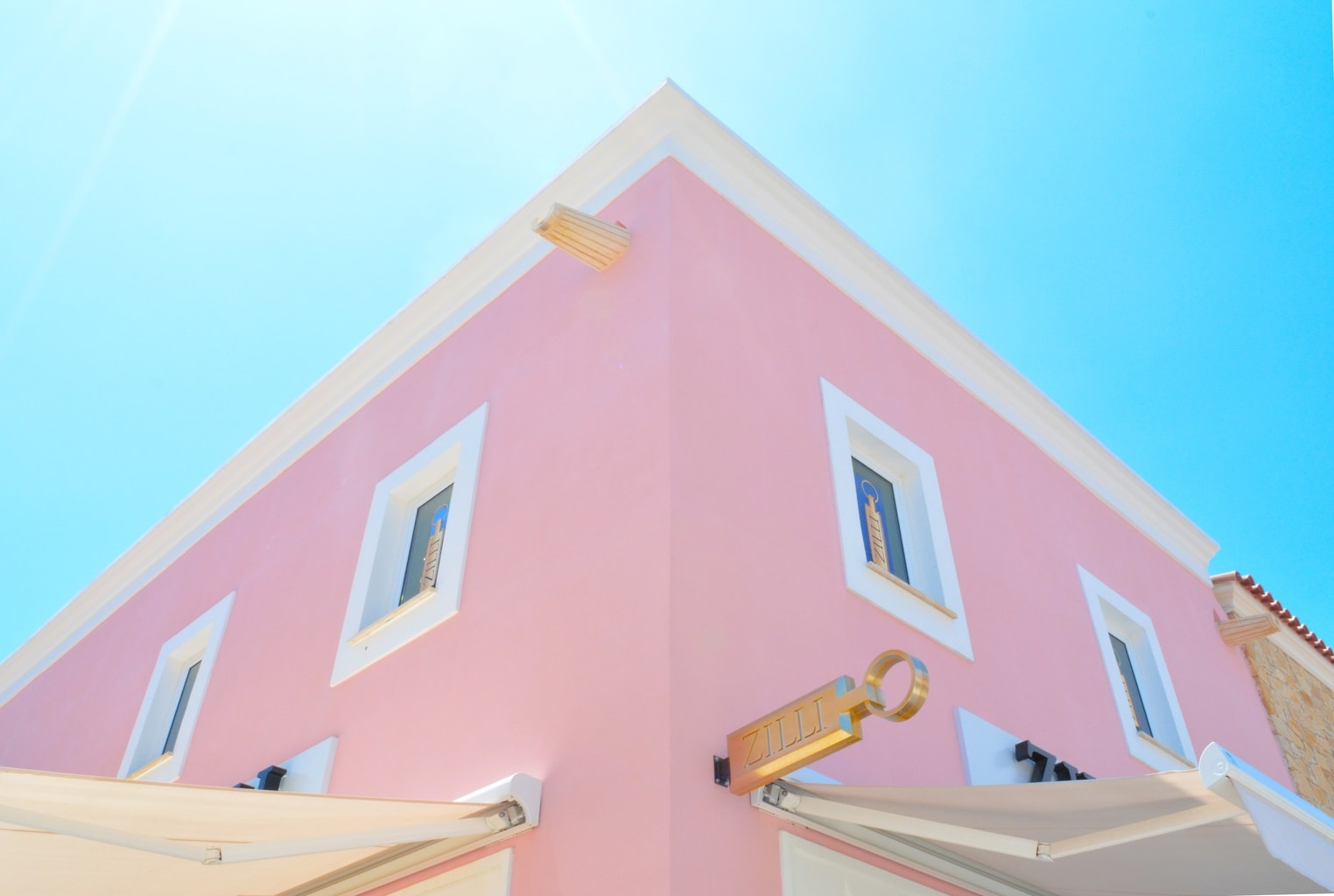 Pink building in the sun