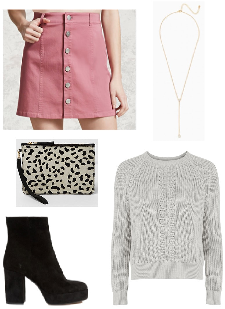 Pink button-front skirt, gray cropped sweater, leopard clutch, stacked heel ankle booties