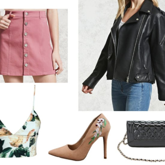 Outfit idea with a pink button front skirt, oversized leather jacket, floral crop top, chain strap bag, floral heels