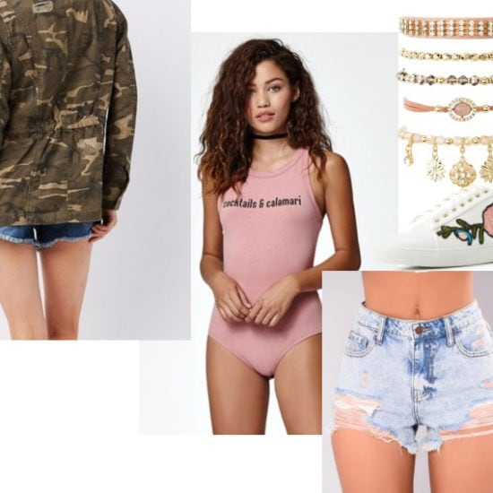 How to wear a pink graphic bodysuit with high-waisted distressed denim shorts, a camo print jacket, rose embroidered white sneakers, and layered bracelets