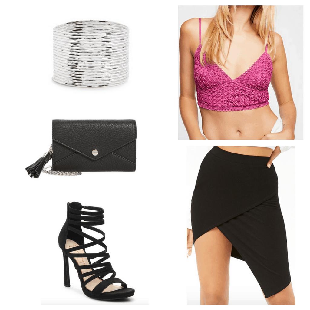Pink crop tank top, black asymmetrical skirt, silver bangles, black clutch, black sandals