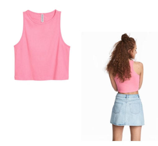 H&M pink crop front and back view