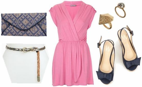Pink dress, navy wedges, printed clutch