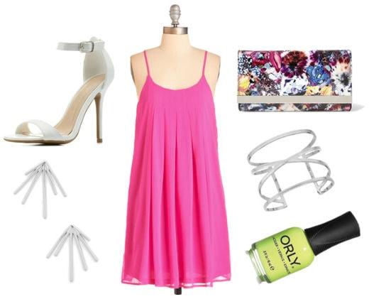 neon pink dress, white heels, printed clutch