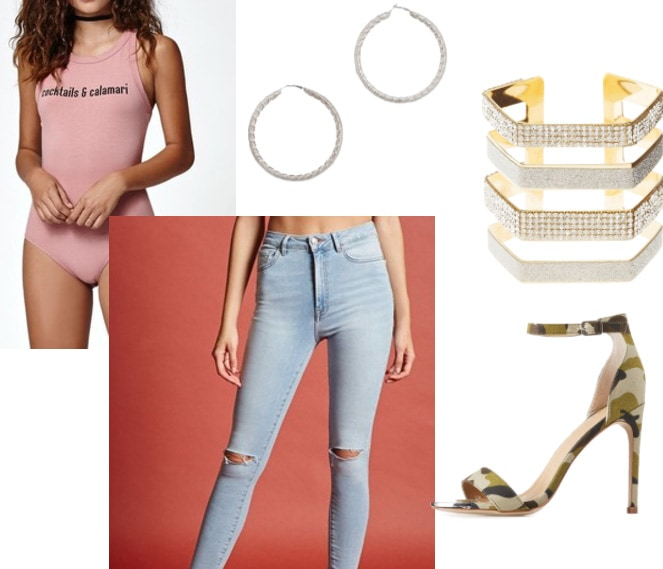 How to wear a pink graphic bodysuit: Outfit idea with Cocktails and Calamari bodysuit, ripped high waisted light wash jeans, camo print strappy heels, bling cuff and hoop earrings