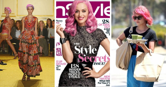 The pink hair trend on the runway, Katy Perry, and Dianna Agron