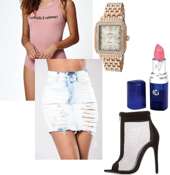 How to wear a pink graphic bodysuit with pink lipstick, a distressed denim skirt in light wash, sheer zip up heels in black, and a bling rose gold watch