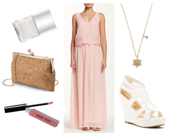 dressy pink maxi and white wedges