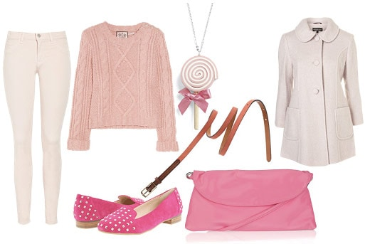 Monochrome pink outfit: Loafers, clutch sweater, button-down, jeans
