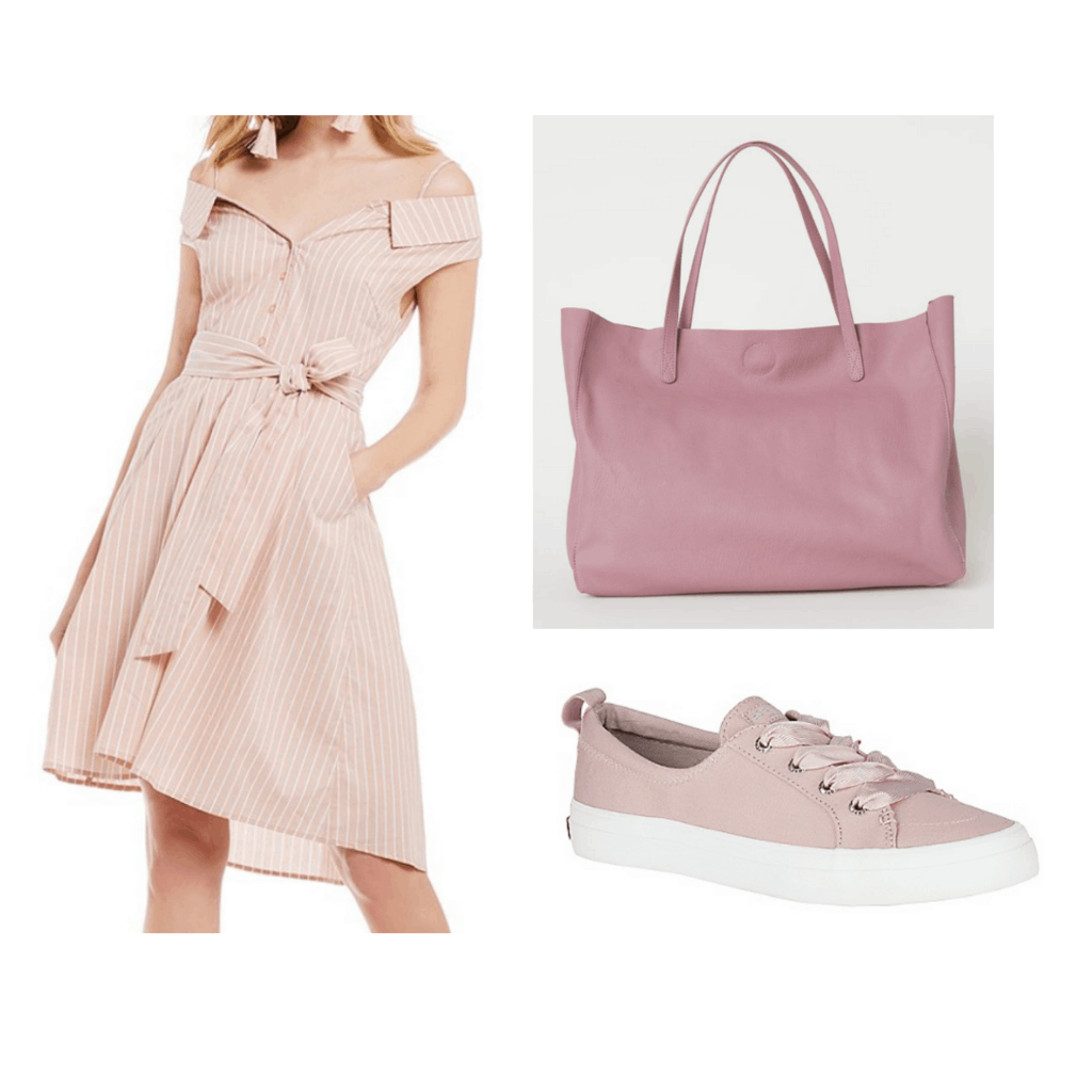 pink stripe off the shoulder dress, pink handbag, and pink sneakers