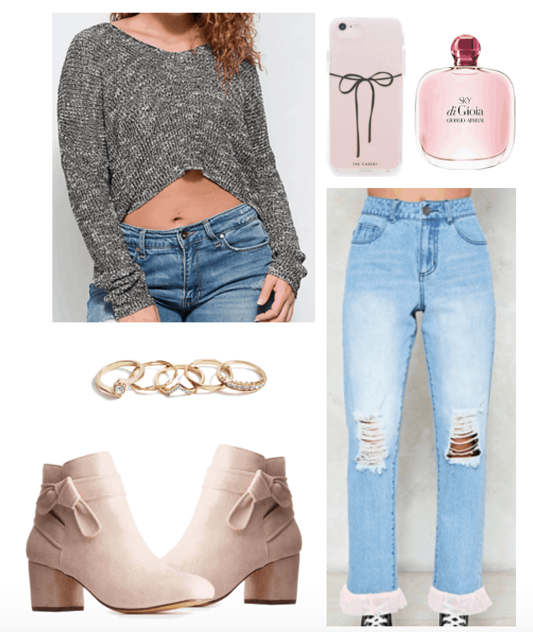 Outfit including high waisted pink ruffled-hem jeans and a grey cropped sweater.