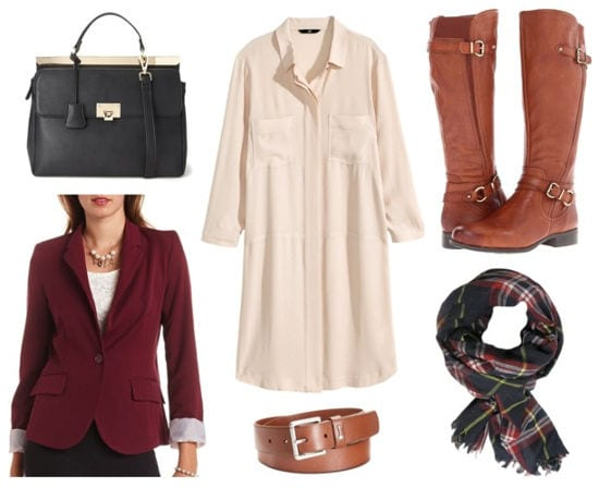 Pink shirtdress cognac riding boots burgundy blazer