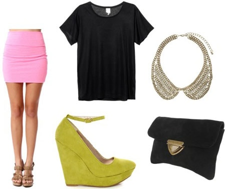 How to wear a pink mini skirt with lime green wedges, a slouchy black tee shirt, statement necklace and black clutch