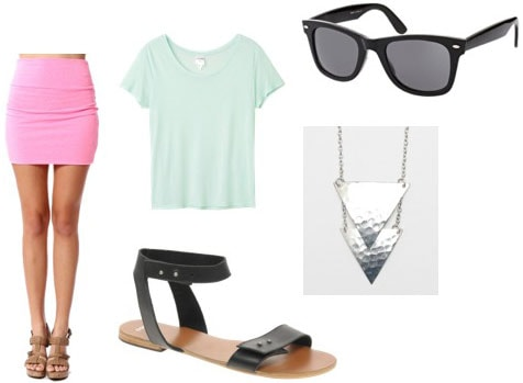 How to wear a pink mini skirt with a mint green tee shirt, simple black leather sandals, wayfarers and a cool necklace